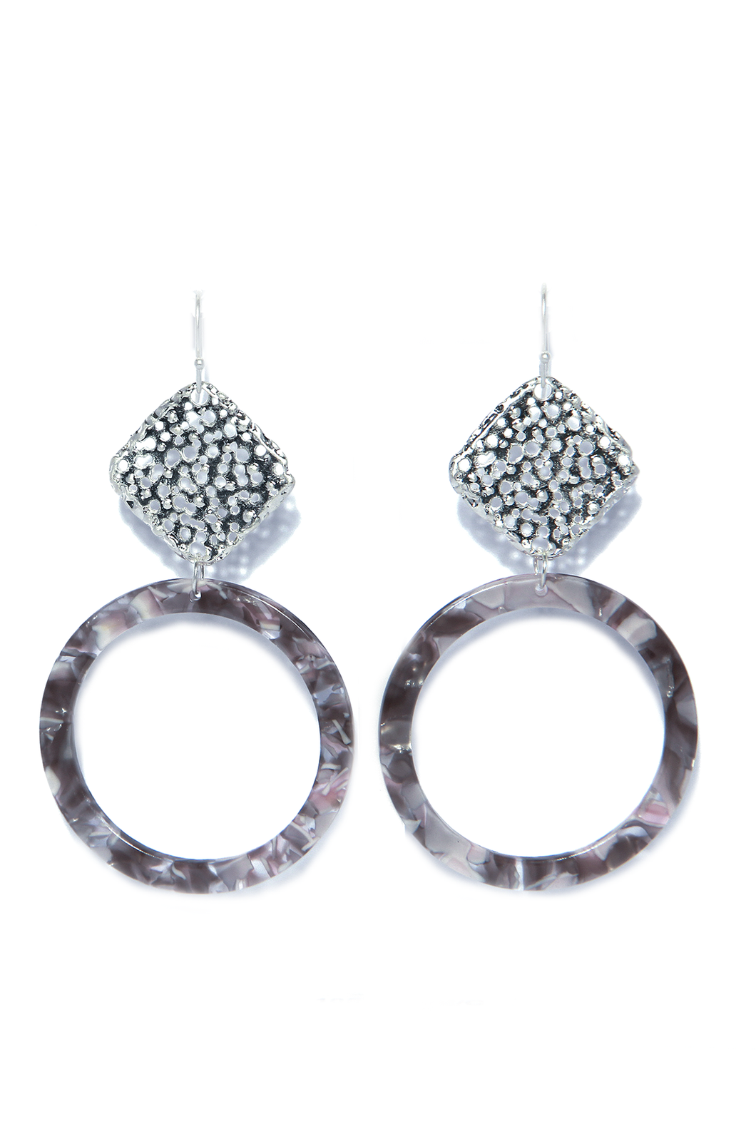 Drop Earrings with Acrylic Hoop Grey