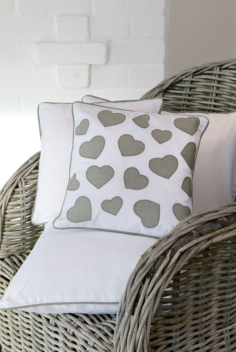 White Cushion with Grey Hearts 30x30 cms