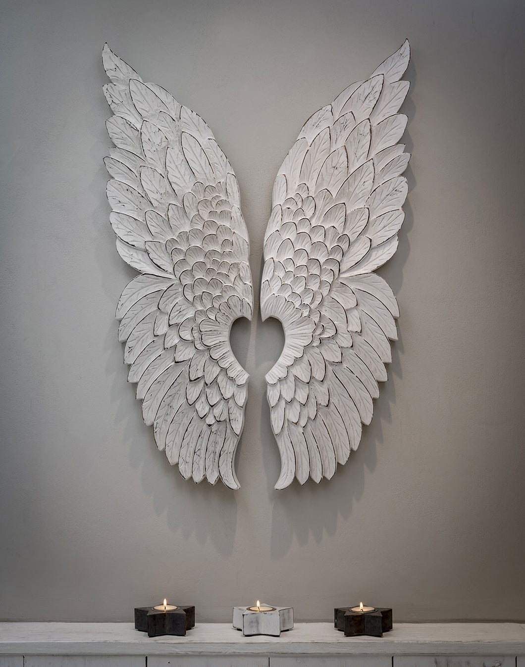 White Hand Carved Wings