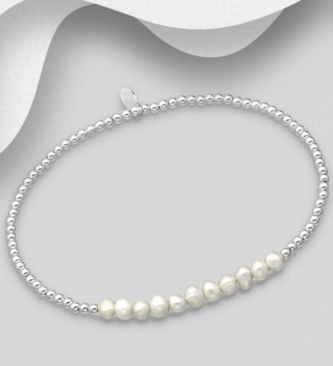 Silver Stretch Bracelet with Fresh Water Pearls