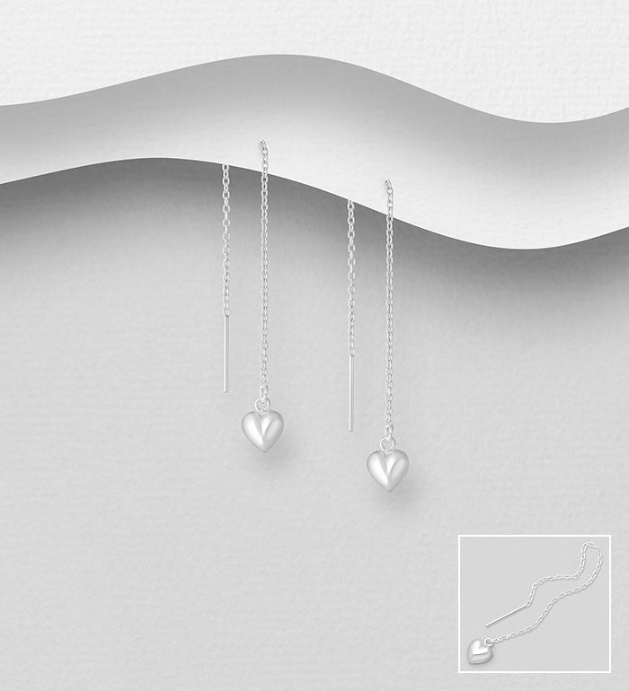 Threader Heart Earrings