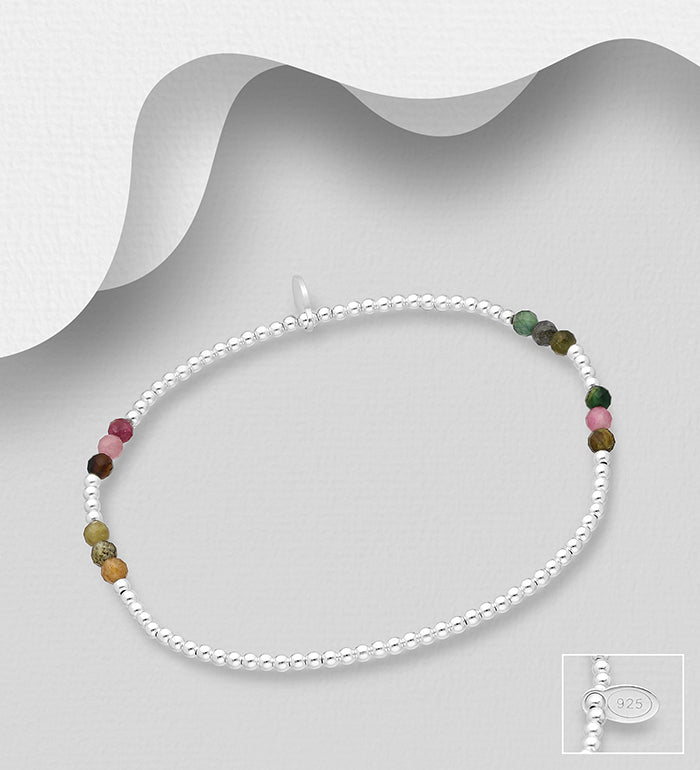 Stretch Bracelet with Various Tourmaline