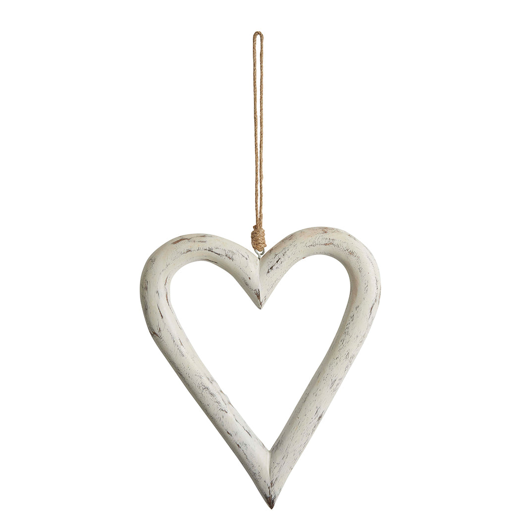 White Wooden Antique Finish Heart