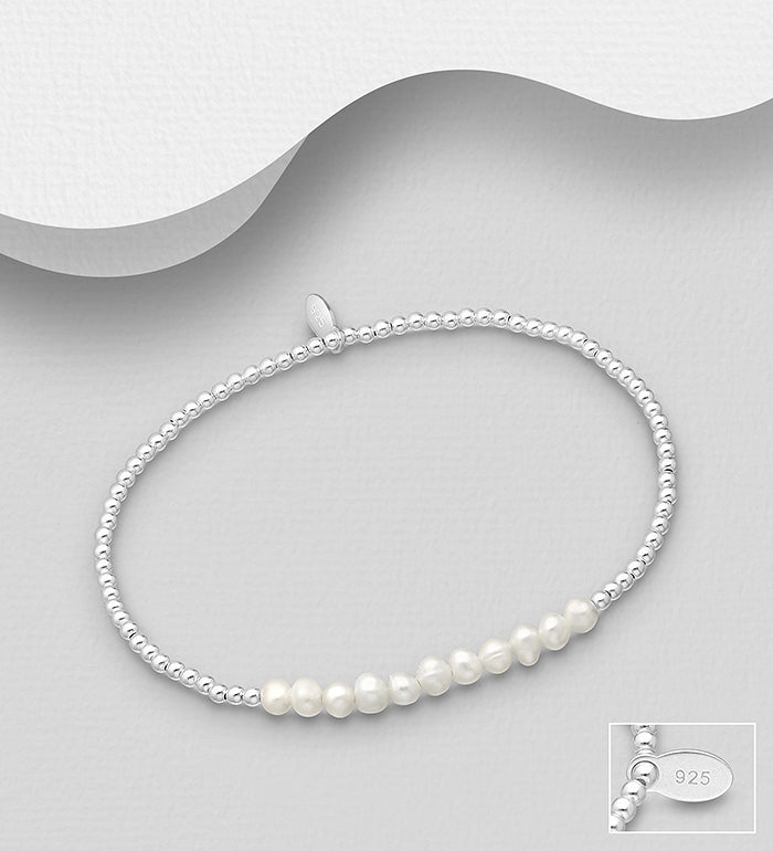 Stretch Bracelet with Fresh Water Pearls
