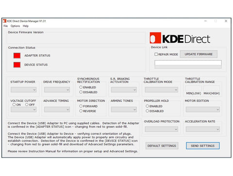 KDE-DMS KDE Direct Device Manager Software for UAS Electronic Speed Controller (ESC) Series