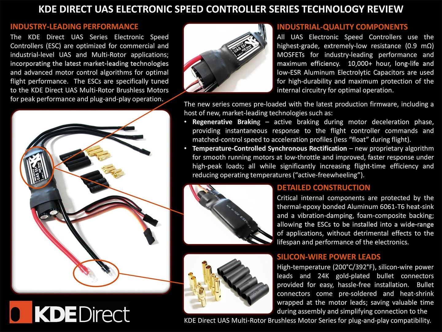 Kdexf Uas55 55a Uas Electronic Speed Controller Kde Direct Wiring Diagram 3 Wire Flat Stove Esc For Electric Multi Rotor