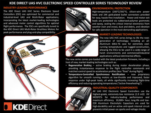 KDEXF-UAS55HVC 55A+HV Electronic Speed Controller (ESC) for Electric Multi-Rotor (UAS) Series