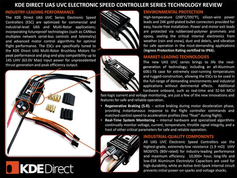 KDE-UAS125UVC-HE 125A+UHV Electronic Speed Controller (ESC) for Multi-Rotor (UAS) Series