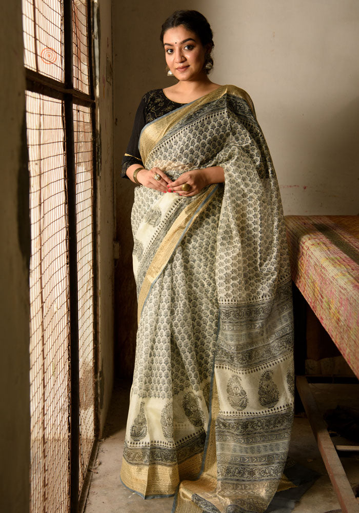 Kota Silk Saree in Beautiful Block Print