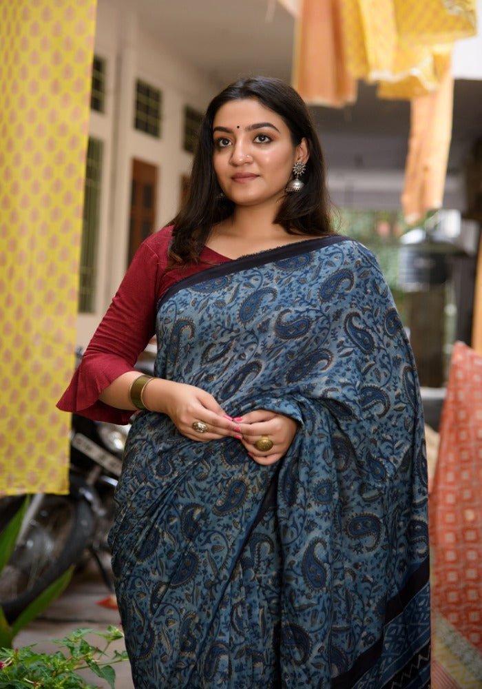 Modal Silk Saree in Dabu Jaota Print