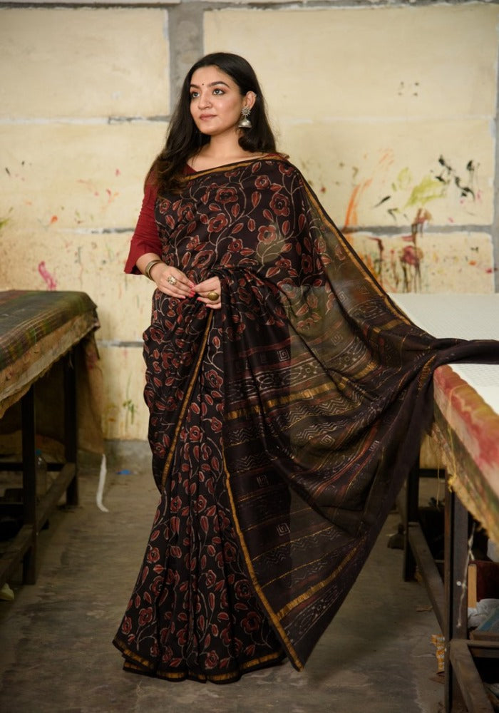 Chanderi Silk Saree in Dabu Jaota Print