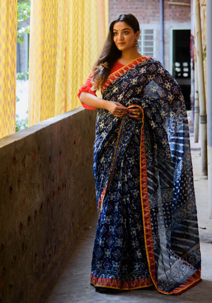 Chanderi Silk Indigo Saree in Katha work