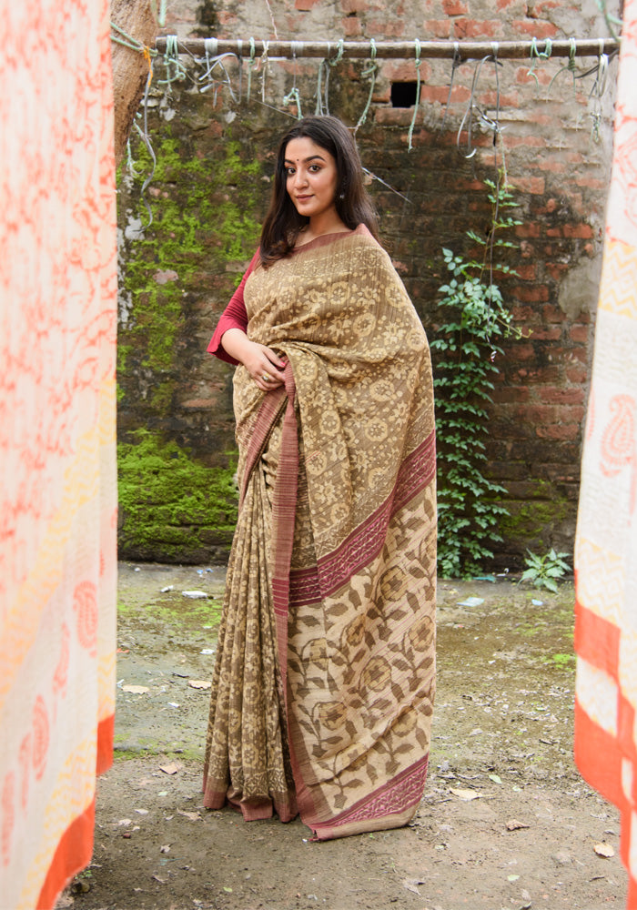 Tussar Silk Natural Dabu Print Saree