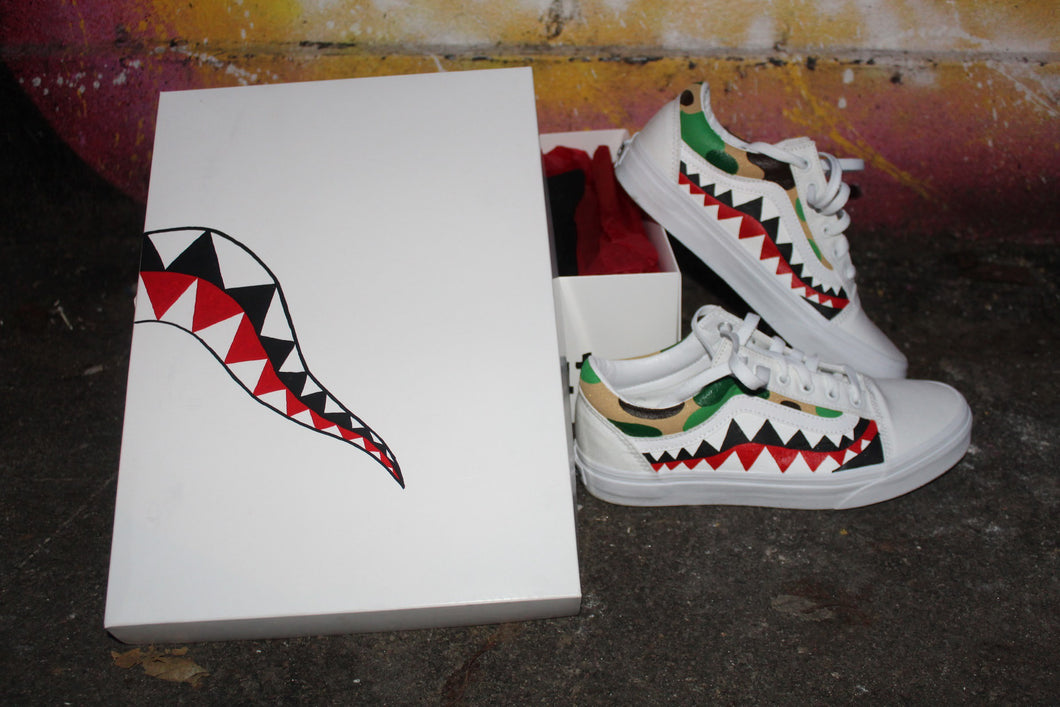 Bape Shark Teeth And Camo Vans