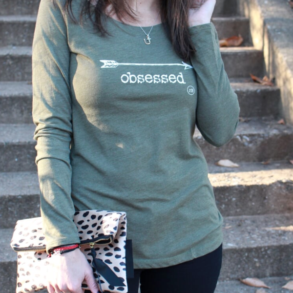 Obsessed Long Sleeve Olive Tee - ravelBrand