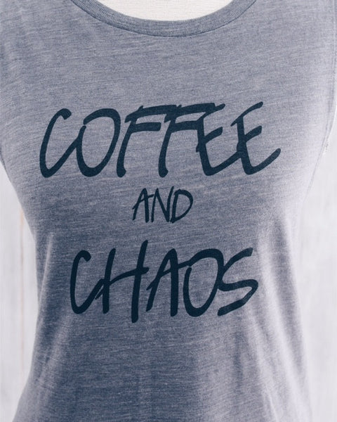 Coffee and Chaos Muscle Tank- White - ravelBrand