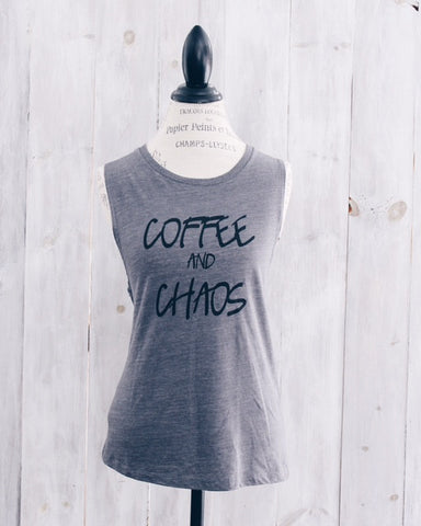 Coffee and Chaos Muscle Tank- Grey