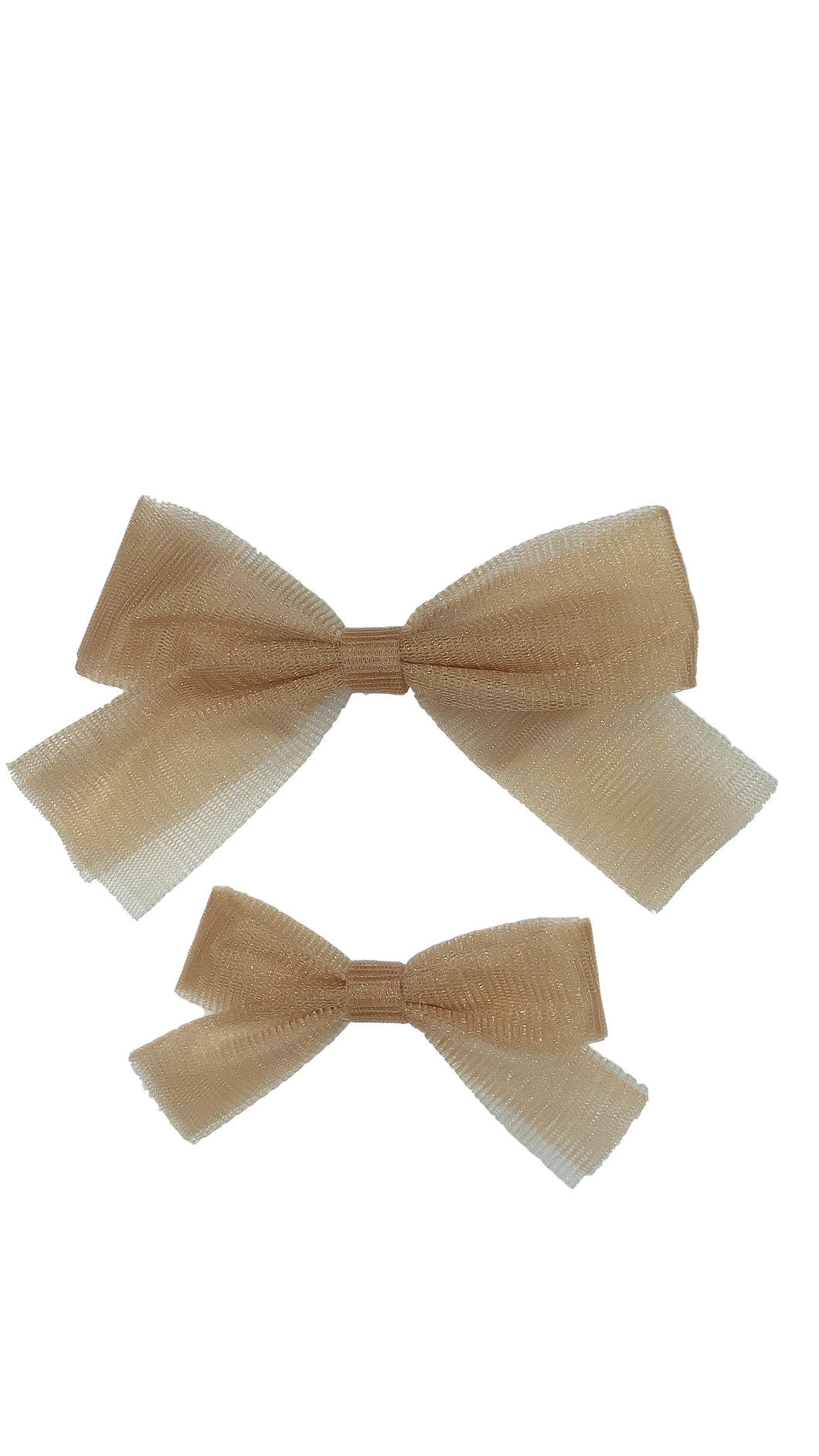 Gold Tulle Bow Clip