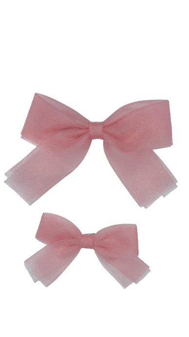 Blush Tulle Bow Clip-ELIVIA & CO.