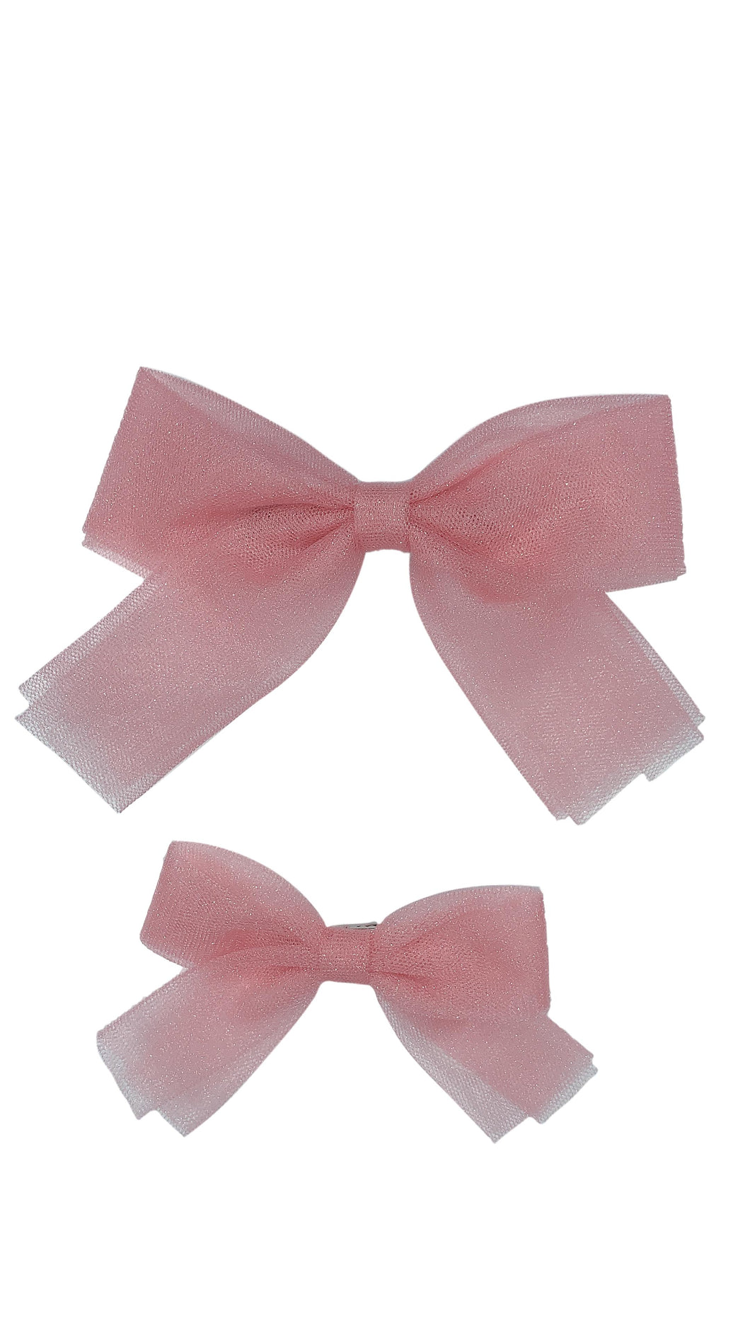 Blush Tulle Bow Clip