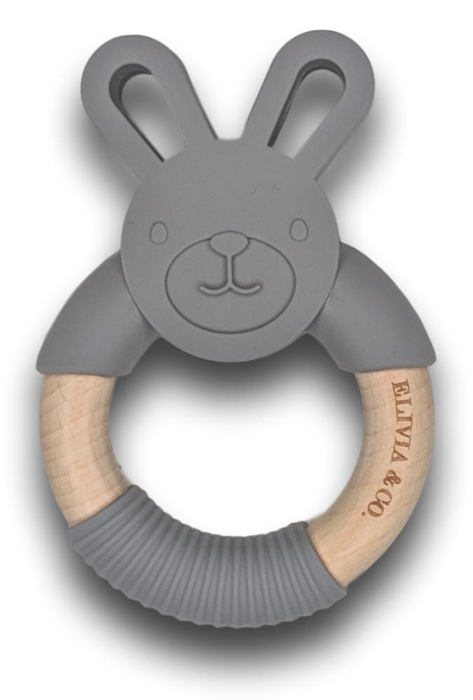 Organic Wood & Silicone Teether - Gray