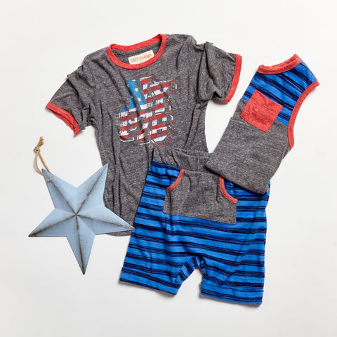 Miki.Miette.Grey.Vintage.Boy.Kids.Sets.Summer.Shirt.Blue.Shorts.Set