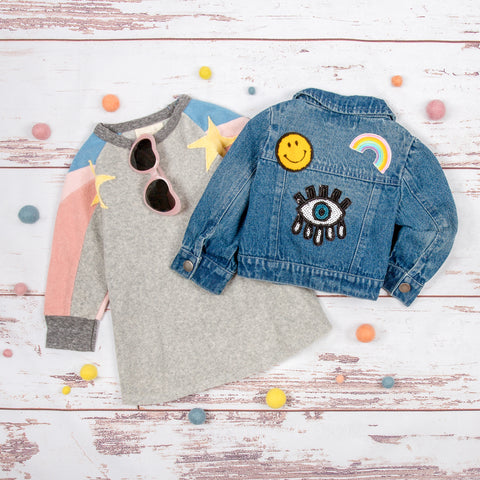 Girls Fall Star stripe flowy dress and cute girls denim jacket with patches