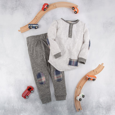 Boys Long Sleeve Henley with Plaid and Matching Plaid grey pants