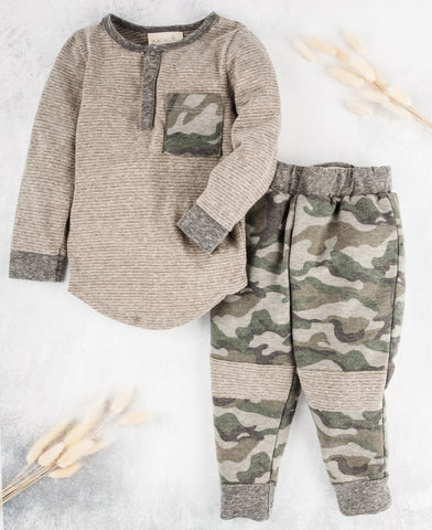 Boys Camo Long Sleeve and Matching Pants Joggers