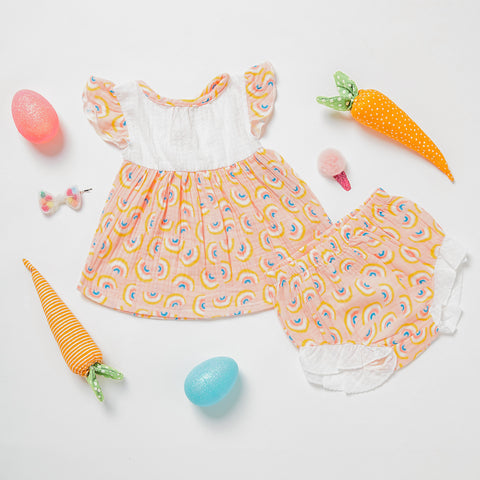Miki Miette cute baby girl dresses and bloomers with rainbows