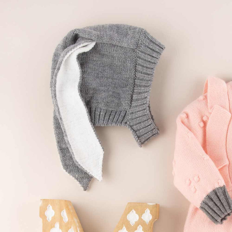 Accessories MULTI / OS Bunny Ears Cotton Knit Hat Grey
