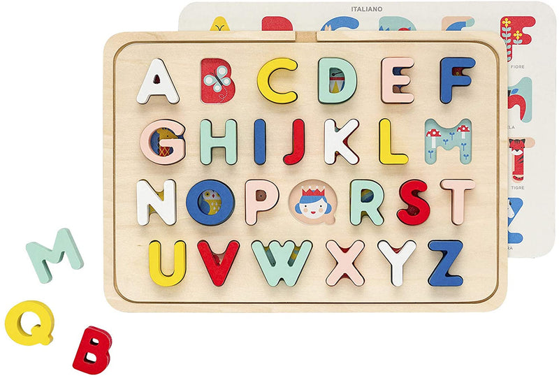 Collage Multi Language Alphabet Wooden Tray Puzzle