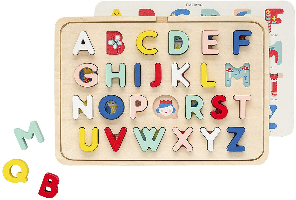Accessories MULTI / OS Collage Multi Language Alphabet Wooden Tray Puzzle