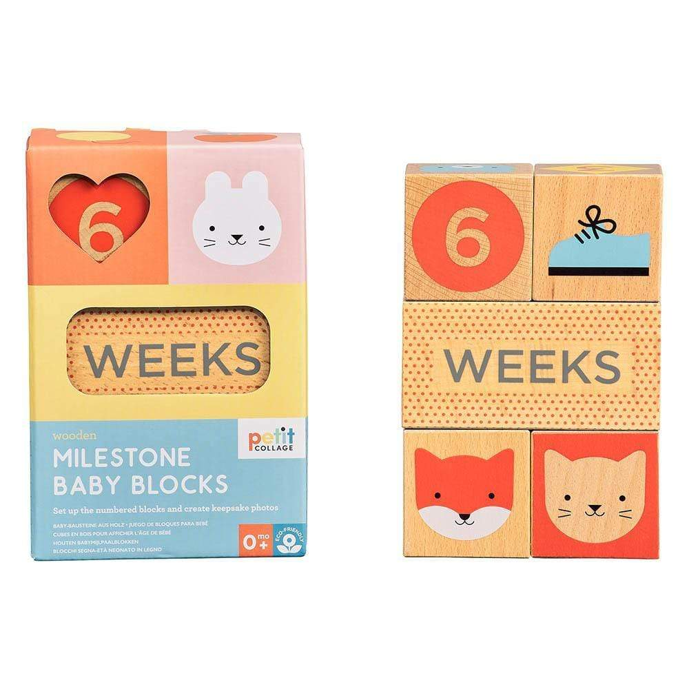 Collage Wooden Baby Milestone Blocks
