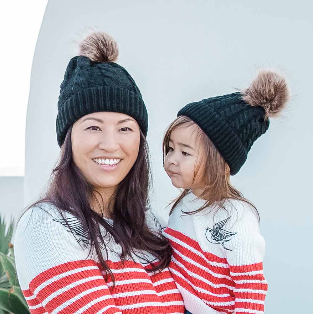 Accessories MULTI / OS Mommy + Me Matching Knit Hats Black