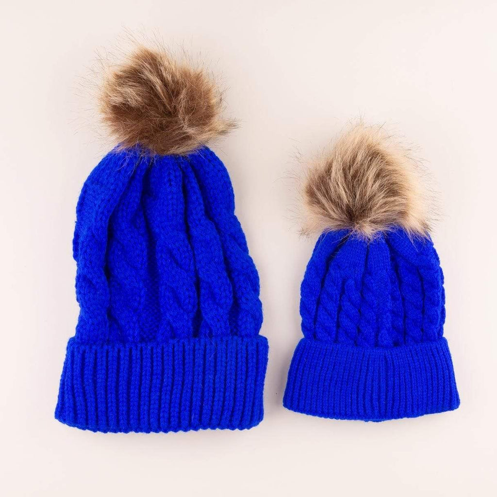 Accessories MULTI / OS Mommy + Me Matching Knit Hats Cobalt