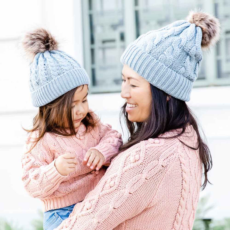 Accessories MULTI / OS Mommy + Me Matching Knit Hats Grey