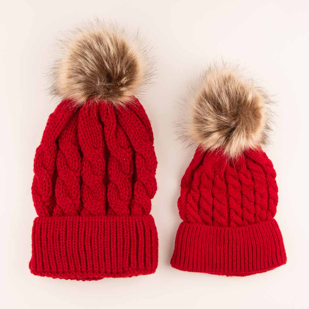 Accessories MULTI / OS Mommy + Me Matching Knit Hats Red