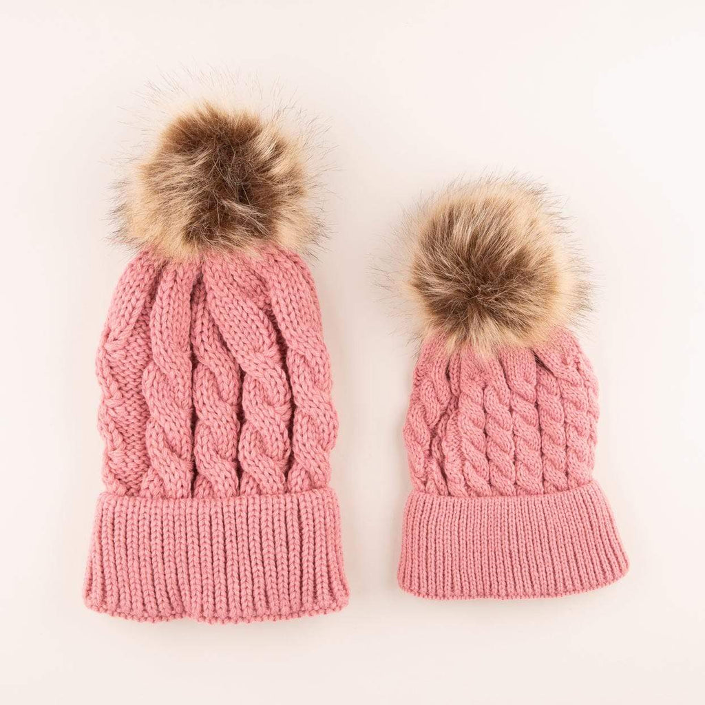 Accessories MULTI / OS Mommy + Me Matching Knit Hats Rose