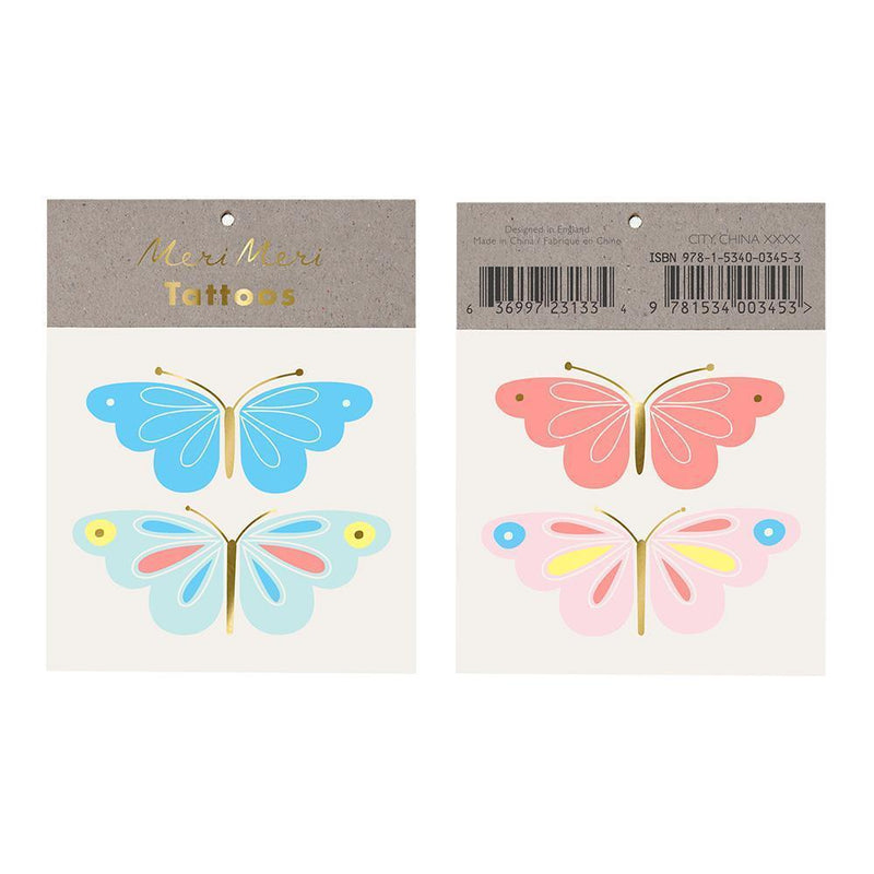 Neon Butterfly Temporary Tattoos