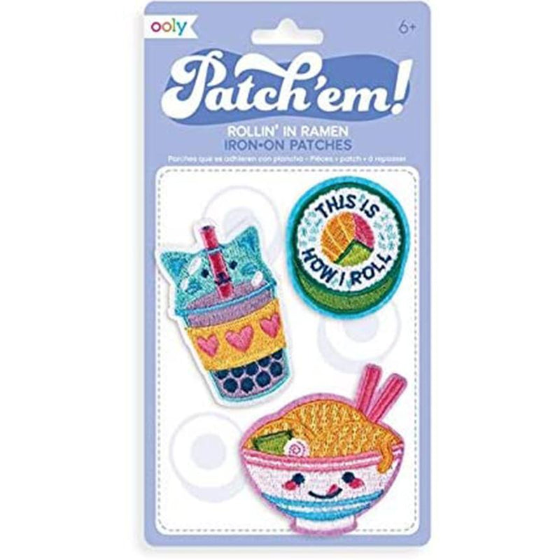 Patch 'Em Rollin' In Ramen Iron on Patches - Set of 3