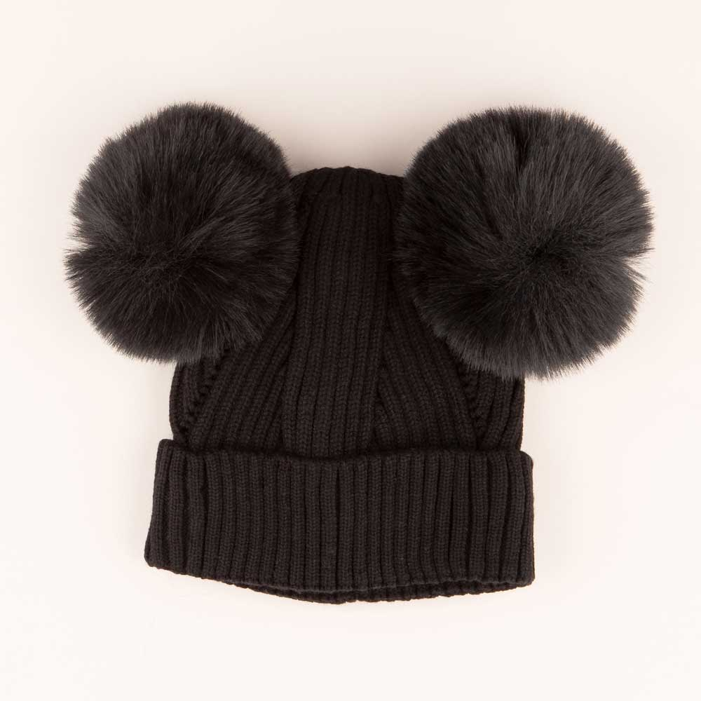 Accessories MULTI / OS Pom Pom Ears Knit Hat Black