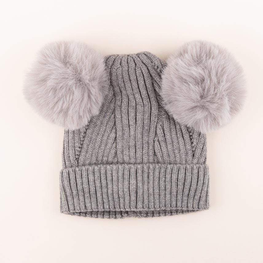 Accessories MULTI / OS Pom Pom Ears Knit Hat Grey