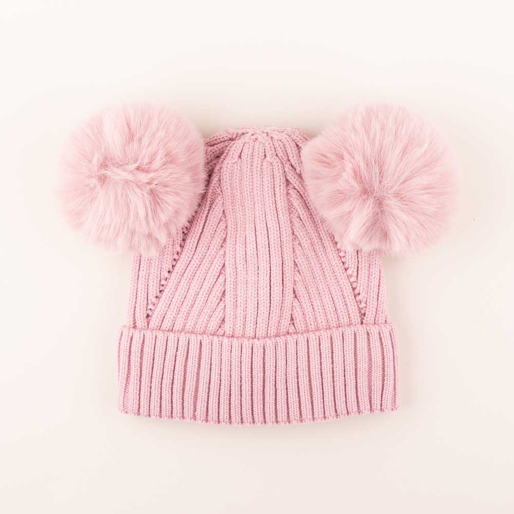 Accessories MULTI / OS Pom Pom Ears Knit Hat Mauve