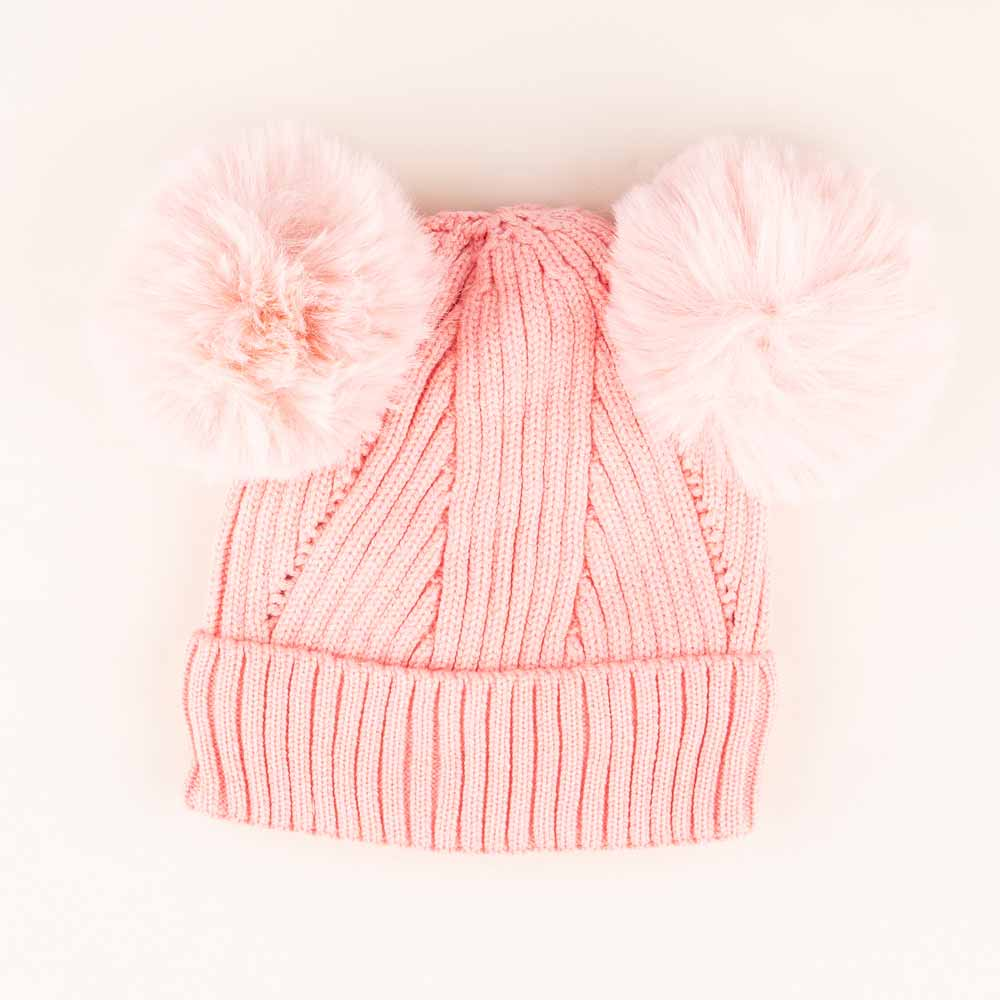 Accessories MULTI / OS Pom Pom Ears Knit Hat Pink