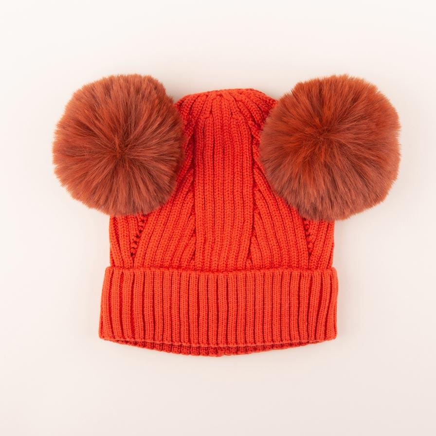 Accessories MULTI / OS Pom Pom Ears Knit Hat Pumpkin