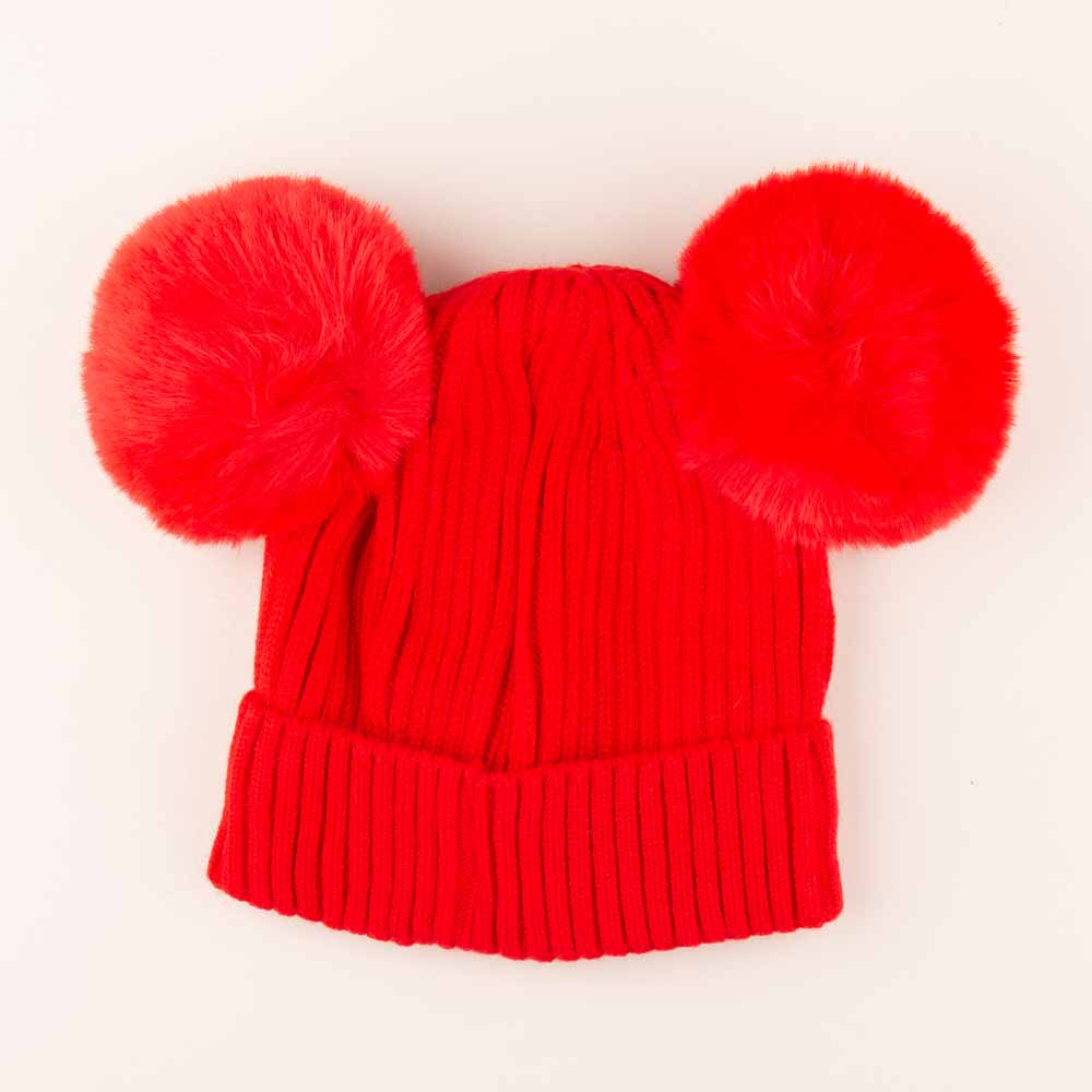 Accessories MULTI / OS Pom Pom Ears Knit Hat Red