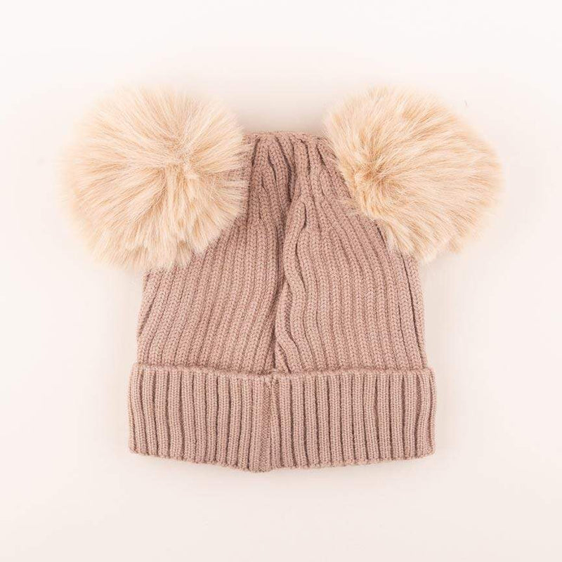 Accessories MULTI / OS Pom Pom Ears Knit Hat Taupe