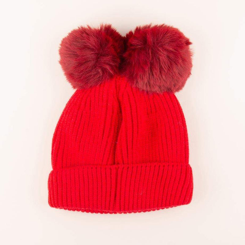 Accessories MULTI / OS Pom Pom Velvet Bow Knit Hat Apple