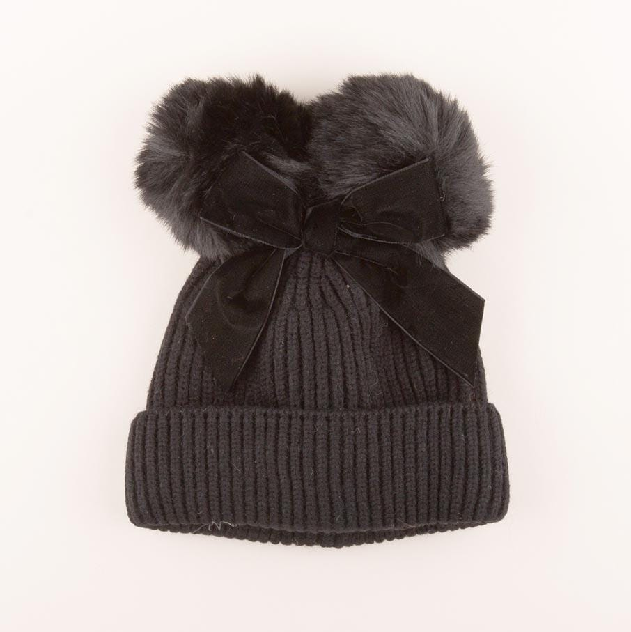Accessories MULTI / OS Pom Pom Velvet Bow Knit Hat Black